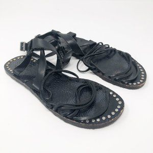 Free People I Ankle Strap Leather Sandals Studs